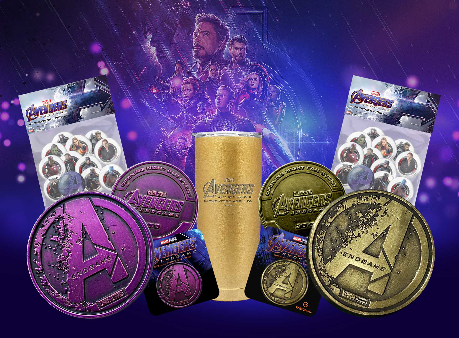 New World Group Marvel Avengers endgame premium coins, stickers and movie promo items