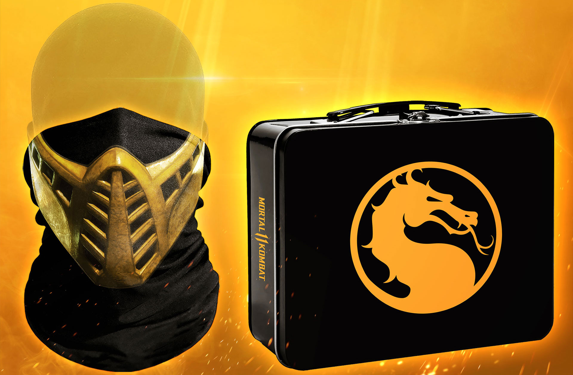 New World Group Scorpion Face mask and custom metal lunchbox for video game promo